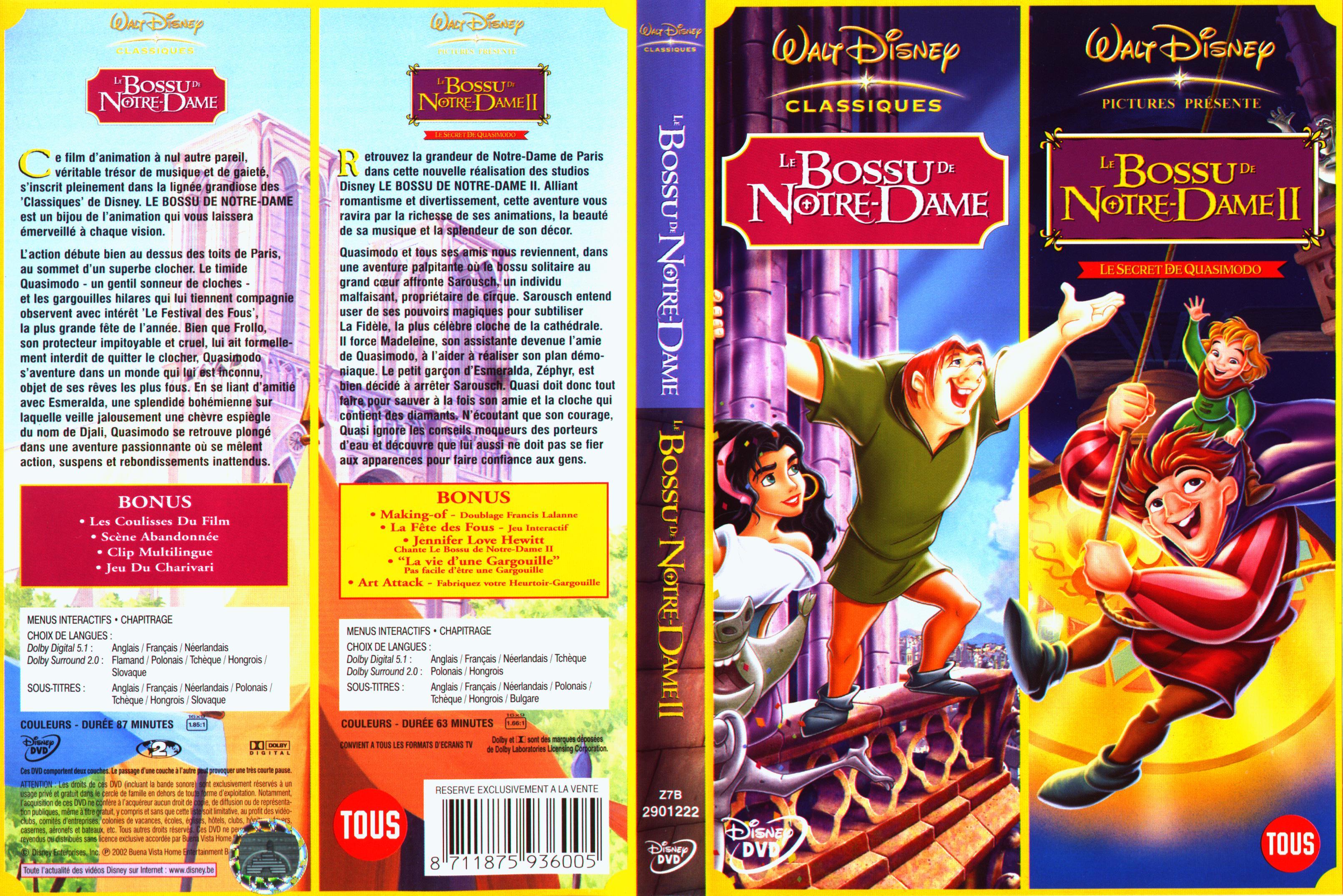 Jaquette DVD Le bossu de Notre-dame 1 et 2